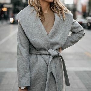 Ann Taylor Shawl Collar Taupe Wrap Coat - NWOT XS